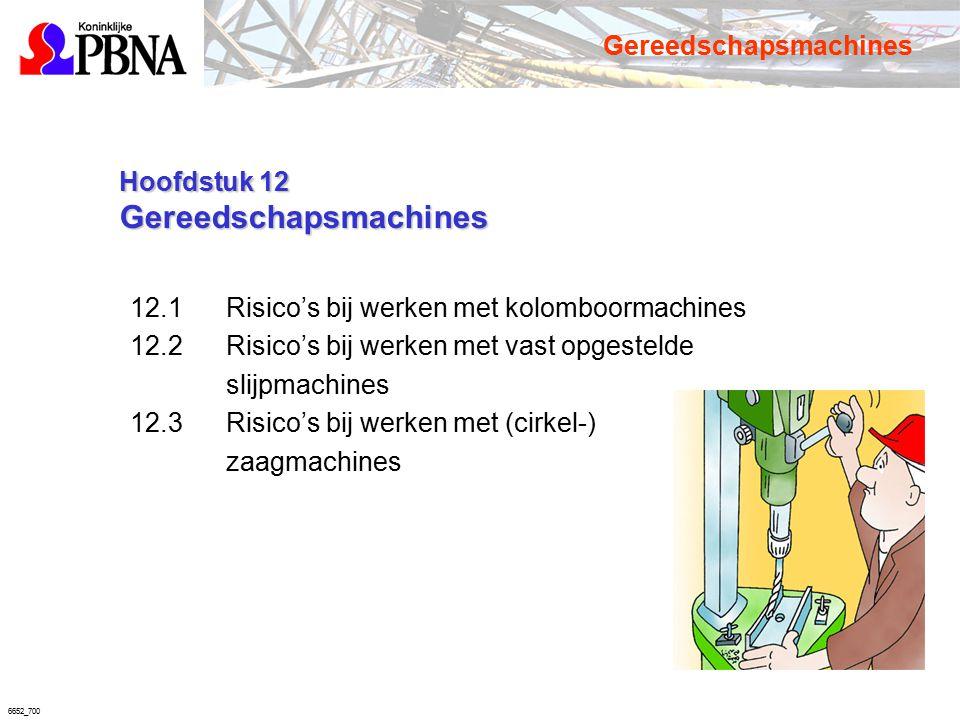 6652_700 Hoofdstuk 12 Gereedschapsmachines Hoofdstuk 12 Gereedschapsmachines 12.1 Risico's bij werken met kolomboormachines 12.2 Risico's bij werken m