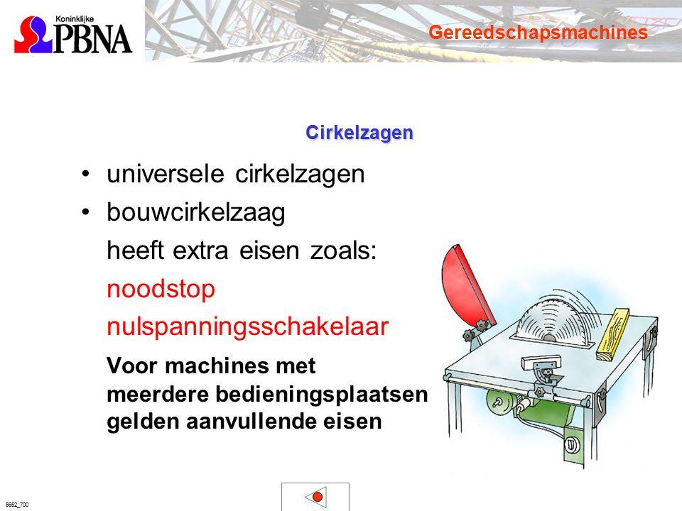 6652_700 Cirkelzagen universele cirkelzagen bouwcirkelzaag heeft extra eisen zoals: noodstop nulspanningsschakelaar Voor machines met meerdere bedieni