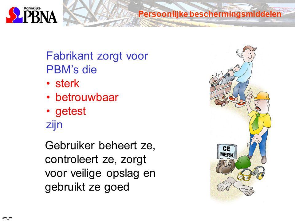 6652_700 Fabrikant zorgt voor PBM's die sterk betrouwbaar getest zijn Gebruiker beheert ze, controleert ze, zorgt voor veilige opslag en gebruikt ze g