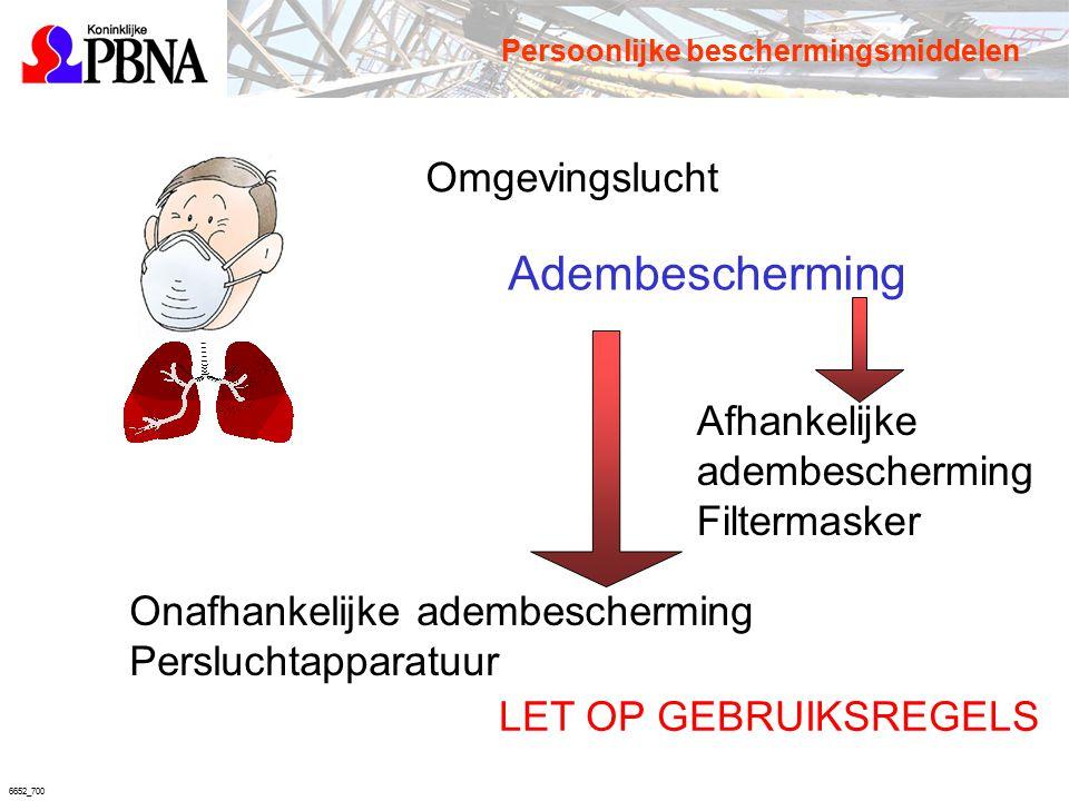 6652_700 Adembescherming Afhankelijke adembescherming Filtermasker Onafhankelijke adembescherming Persluchtapparatuur LET OP GEBRUIKSREGELS Persoonlij