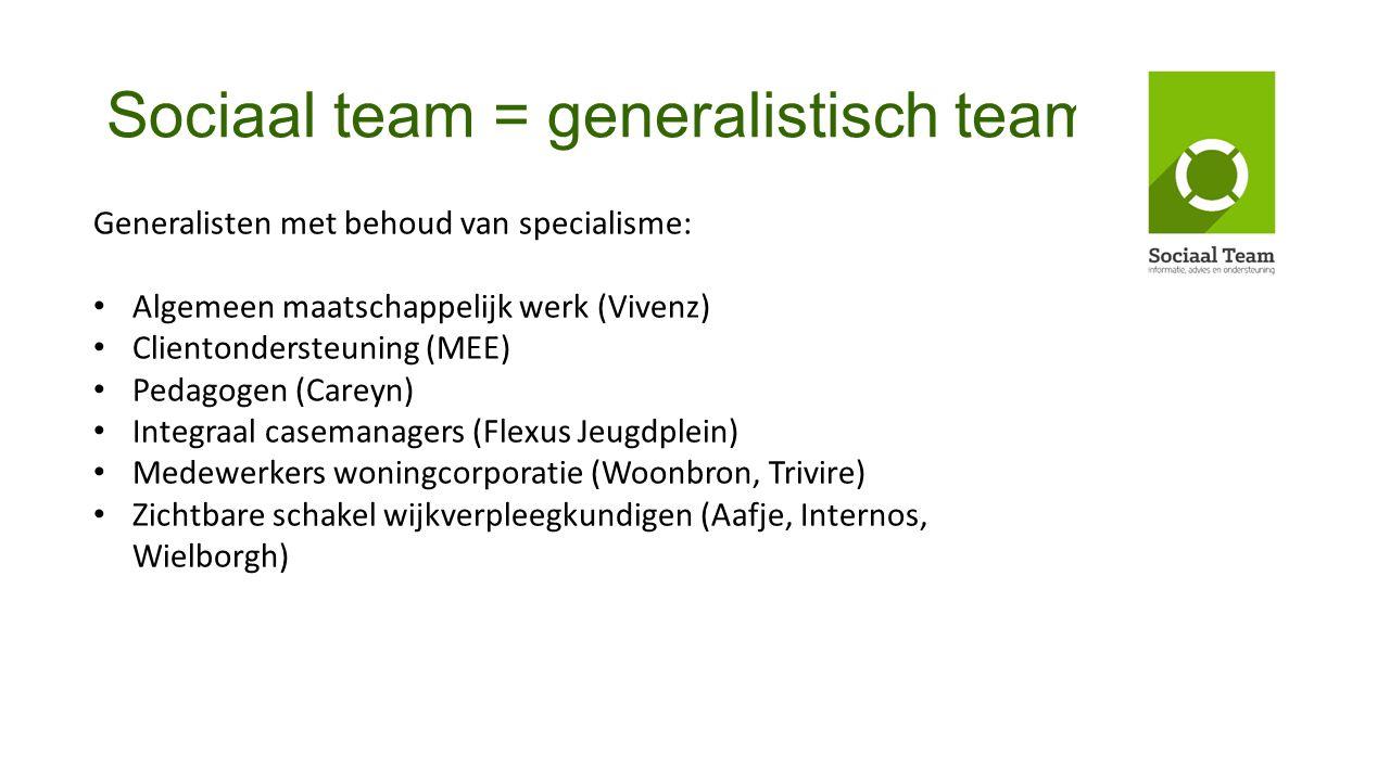 Sociaal team = generalistisch team Generalisten met behoud van specialisme: Algemeen maatschappelijk werk (Vivenz) Clientondersteuning (MEE) Pedagogen