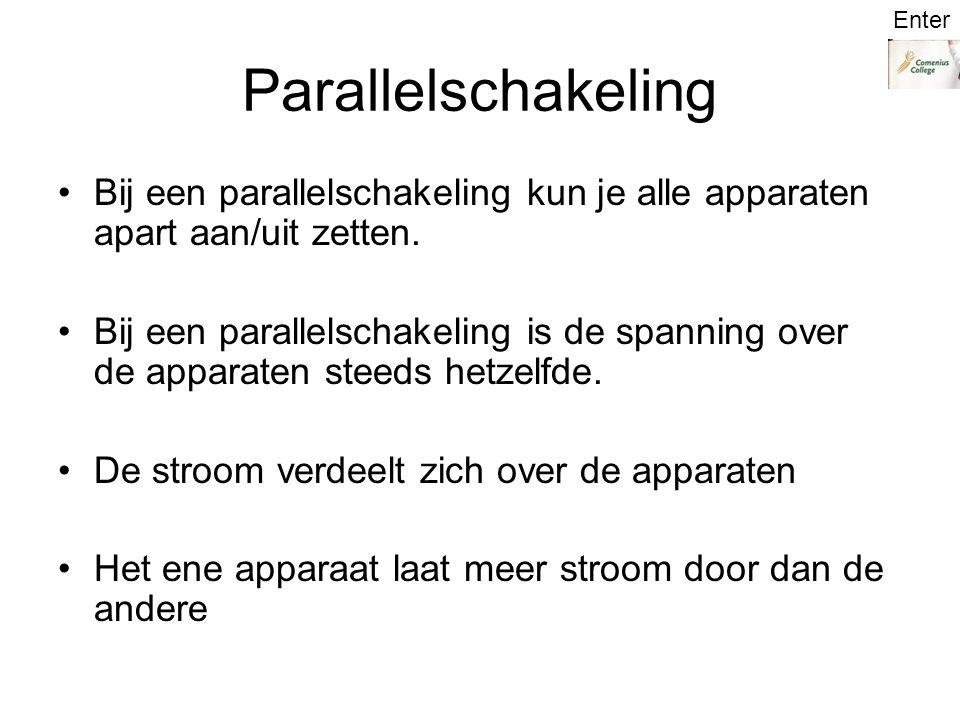 Parallelschakeling Bij een parallelschakeling kun je alle apparaten apart aan/uit zetten.