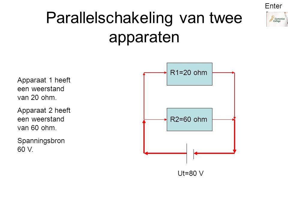 Parallelschakeling van twee apparaten R1=20 ohm R2=60 ohm Ut=80 V Apparaat 1 heeft een weerstand van 20 ohm.