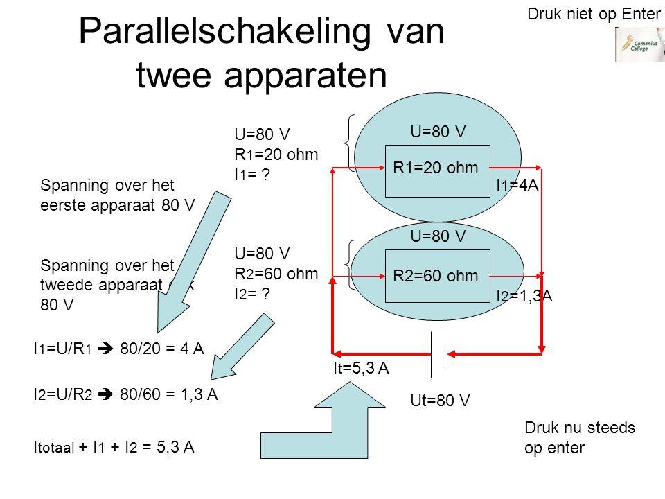Parallelschakeling van twee apparaten R1=20 ohm R2=60 ohm Ut=80 V Spanning over het eerste apparaat 80 V Spanning over het tweede apparaat ook 80 V U=80 V R 1 =20 ohm I 1 = .