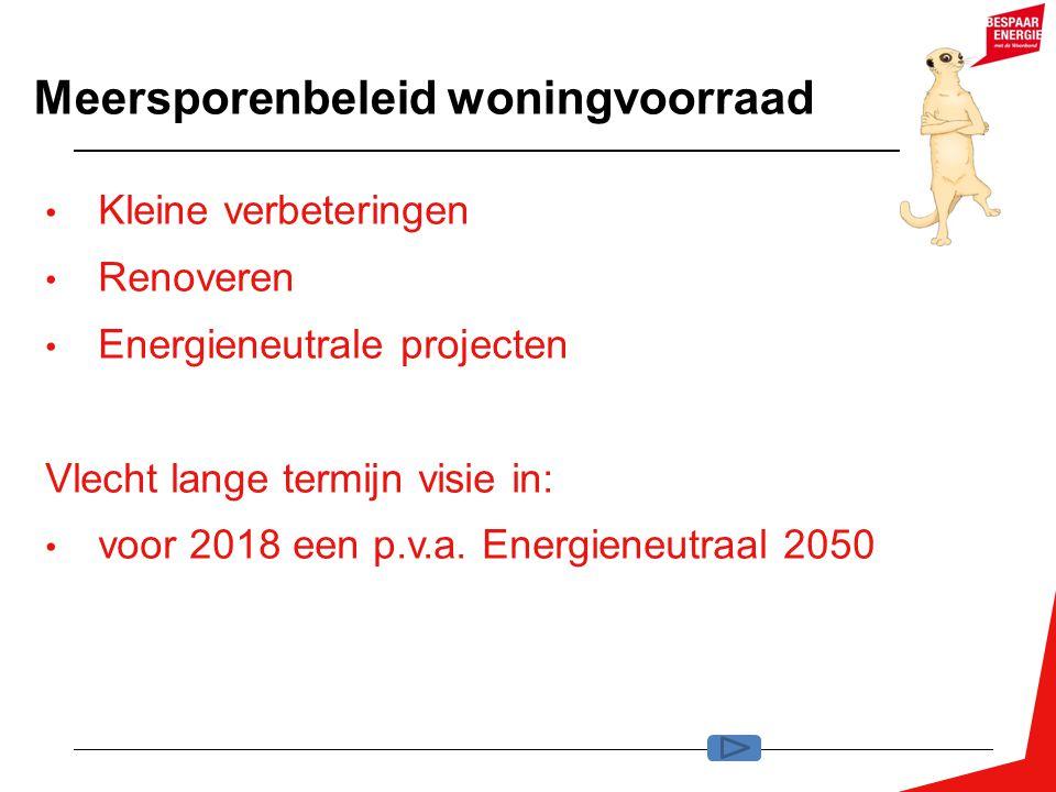 Meersporenbeleid woningvoorraad Kleine verbeteringen Renoveren Energieneutrale projecten Vlecht lange termijn visie in: voor 2018 een p.v.a. Energiene