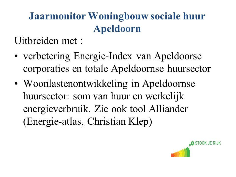 Jaarmonitor Woningbouw sociale huur Apeldoorn Uitbreiden met : verbetering Energie-Index van Apeldoorse corporaties en totale Apeldoornse huursector W