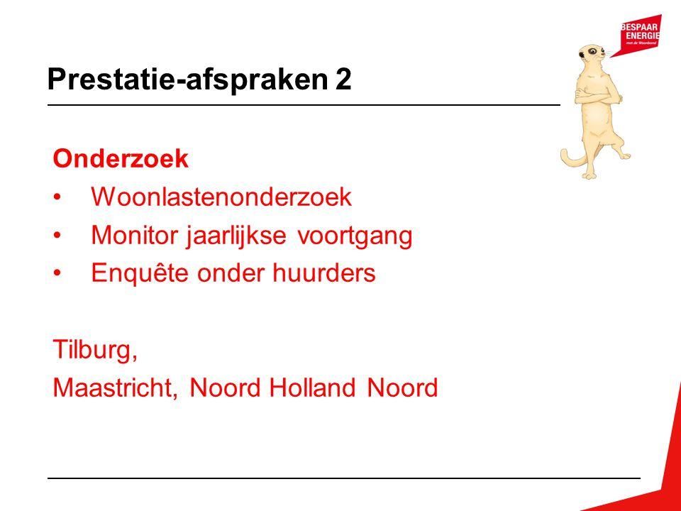 Prestatie-afspraken 2 Onderzoek Woonlastenonderzoek Monitor jaarlijkse voortgang Enquête onder huurders Tilburg, Maastricht, Noord Holland Noord