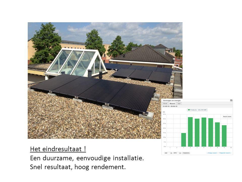 Het eindresultaat ! Een duurzame, eenvoudige installatie. Snel resultaat, hoog rendement.