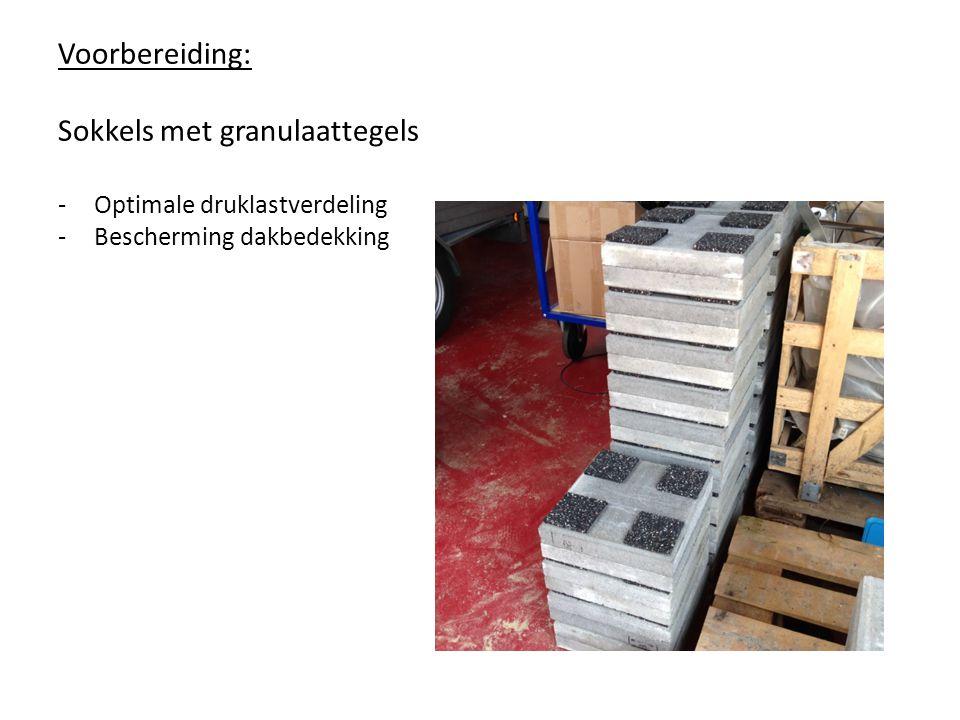 Voorbereiding: Sokkels met granulaattegels -Optimale druklastverdeling -Bescherming dakbedekking