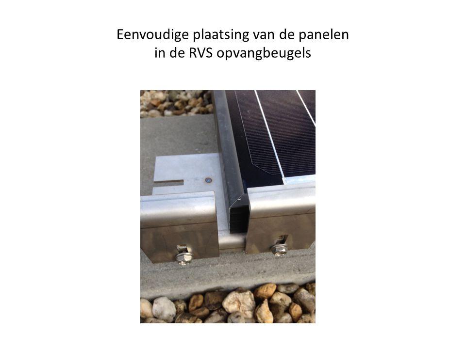 Eenvoudige plaatsing van de panelen in de RVS opvangbeugels