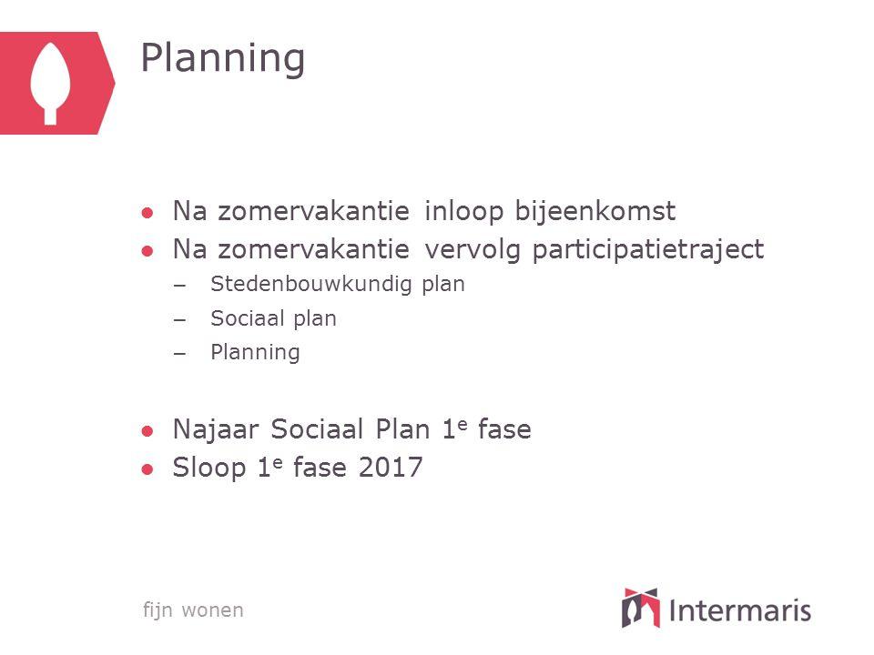 fijn wonen Planning ●Na zomervakantie inloop bijeenkomst ●Na zomervakantie vervolg participatietraject – Stedenbouwkundig plan – Sociaal plan – Planni