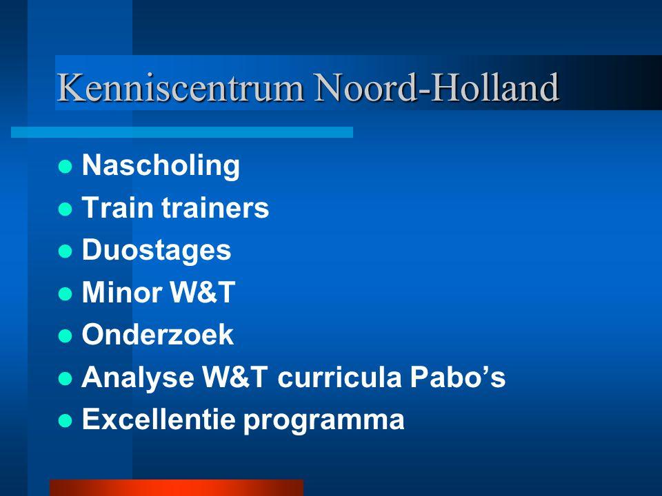 Kenniscentrum Noord-Holland Nascholing Train trainers Duostages Minor W&T Onderzoek Analyse W&T curricula Pabo's Excellentie programma