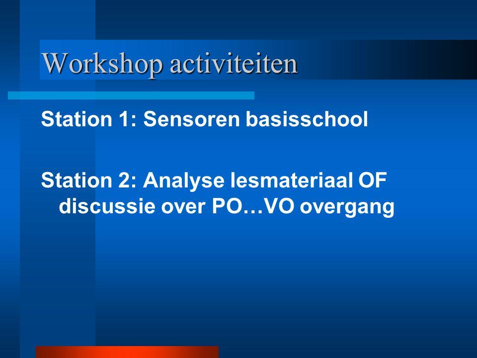 Workshop activiteiten Station 1: Sensoren basisschool Station 2: Analyse lesmateriaal OF discussie over PO…VO overgang