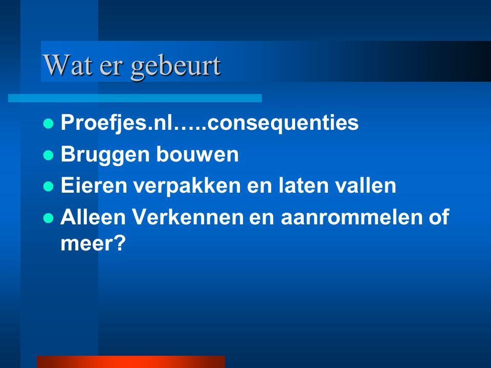 Wat er gebeurt Proefjes.nl…..consequenties Bruggen bouwen Eieren verpakken en laten vallen Alleen Verkennen en aanrommelen of meer?