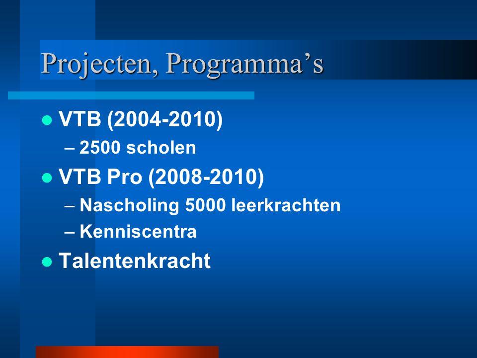 Projecten, Programma's VTB (2004-2010) –2500 scholen VTB Pro (2008-2010) –Nascholing 5000 leerkrachten –Kenniscentra Talentenkracht