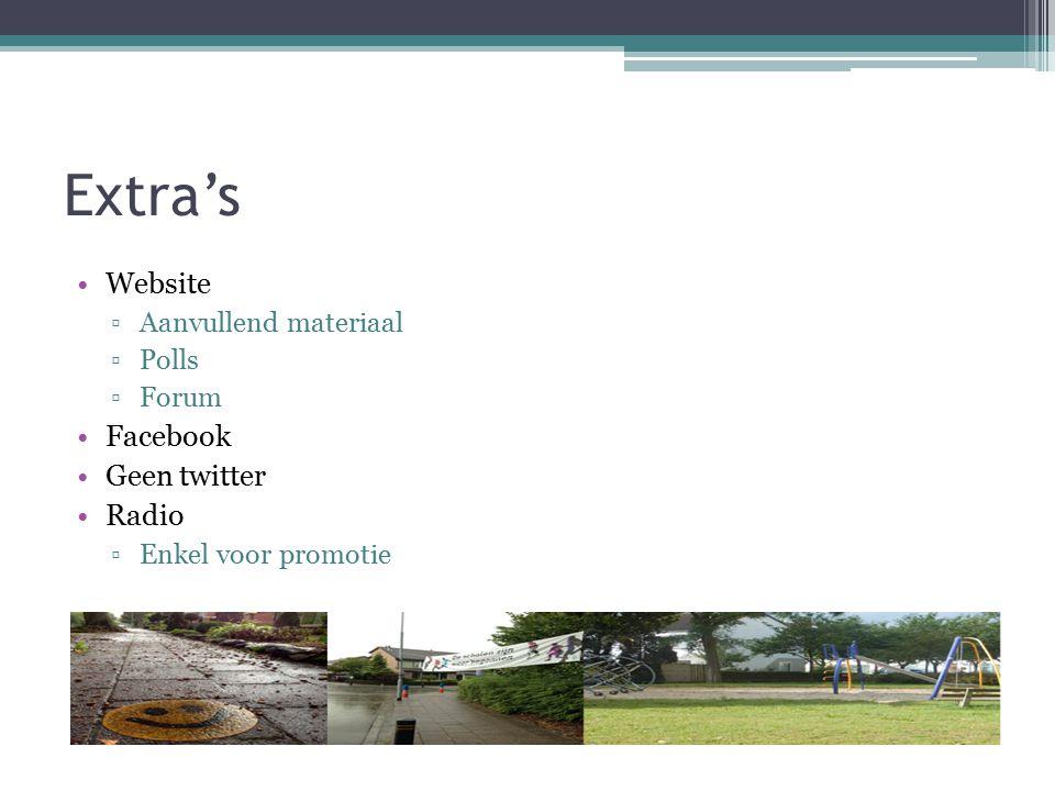 Extra's Website ▫Aanvullend materiaal ▫Polls ▫Forum Facebook Geen twitter Radio ▫Enkel voor promotie