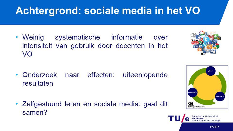 Achtergrond: sociale media in het VO Weinig systematische informatie over intensiteit van gebruik door docenten in het VO Onderzoek naar effecten: uiteenlopende resultaten Zelfgestuurd leren en sociale media: gaat dit samen.