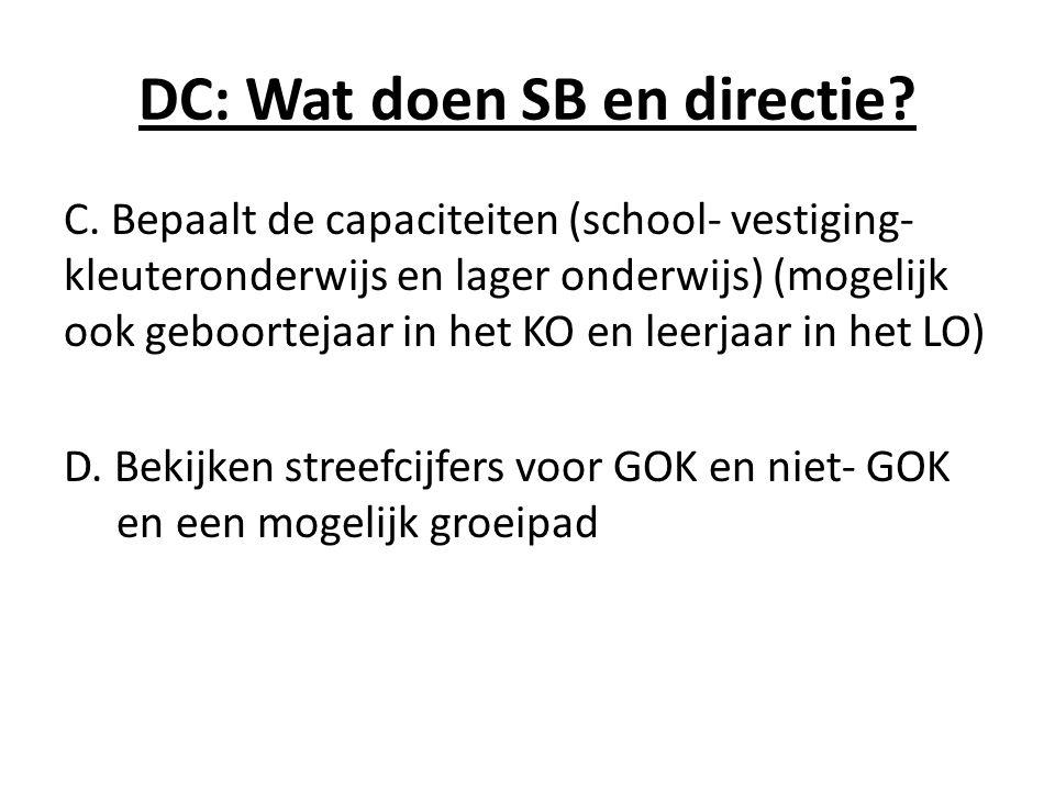 DC: Wat doen SB en directie? C. Bepaalt de capaciteiten (school- vestiging- kleuteronderwijs en lager onderwijs) (mogelijk ook geboortejaar in het KO