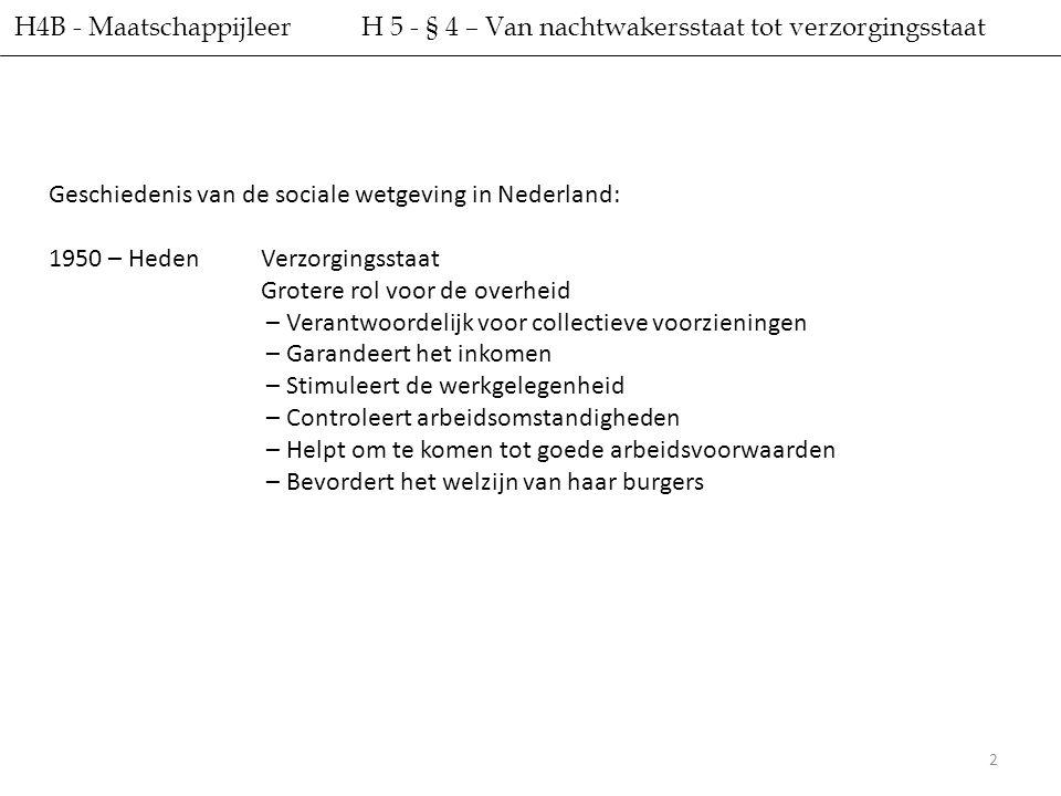 2 H4B - Maatschappijleer H 5 - § 4 – Van nachtwakersstaat tot verzorgingsstaat Geschiedenis van de sociale wetgeving in Nederland: 1950 – HedenVerzorg