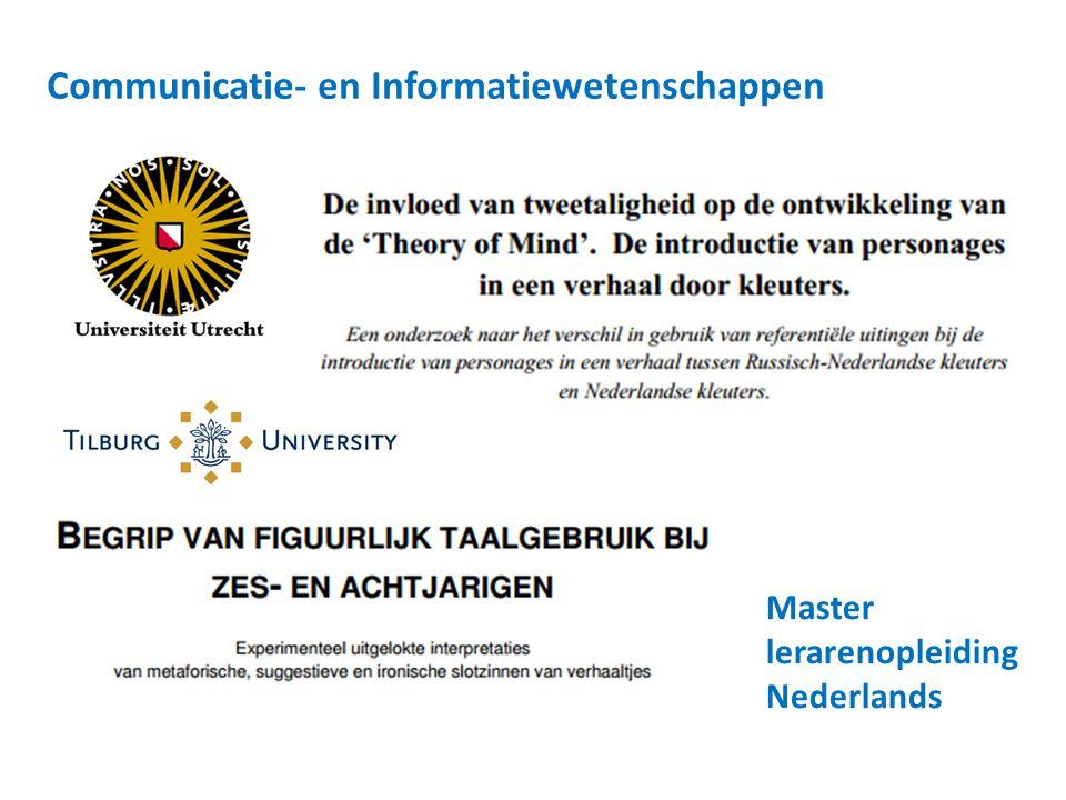 Communicatie- en Informatiewetenschappen Master lerarenopleiding Nederlands