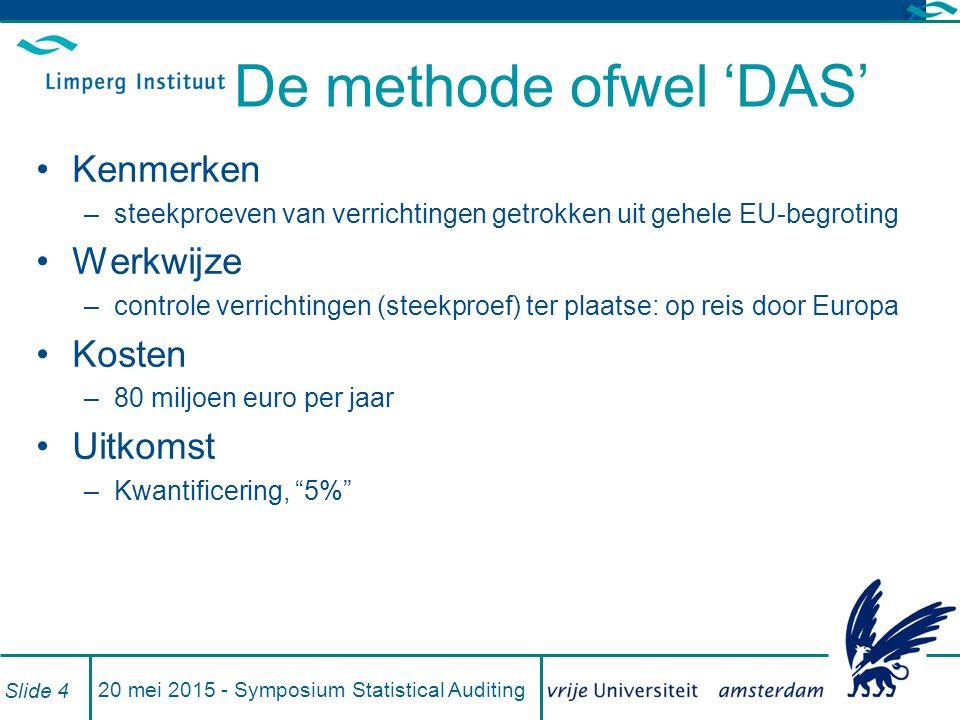 20 mei 2015 - Symposium Statistical Auditing Slide 4 De methode ofwel 'DAS' Kenmerken –steekproeven van verrichtingen getrokken uit gehele EU-begroting Werkwijze –controle verrichtingen (steekproef) ter plaatse: op reis door Europa Kosten –80 miljoen euro per jaar Uitkomst –Kwantificering, 5%