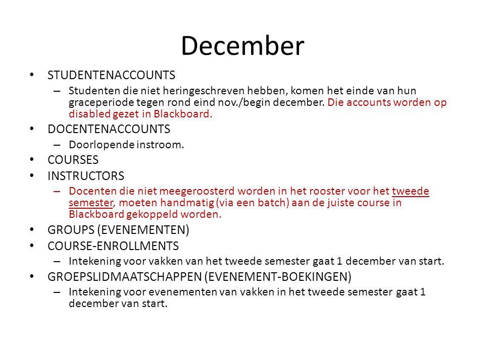 December STUDENTENACCOUNTS – Studenten die niet heringeschreven hebben, komen het einde van hun graceperiode tegen rond eind nov./begin december.