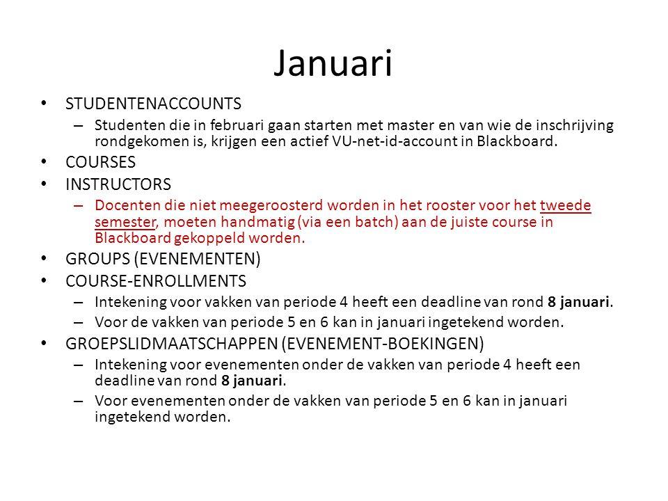 Januari STUDENTENACCOUNTS – Studenten die in februari gaan starten met master en van wie de inschrijving rondgekomen is, krijgen een actief VU-net-id-account in Blackboard.
