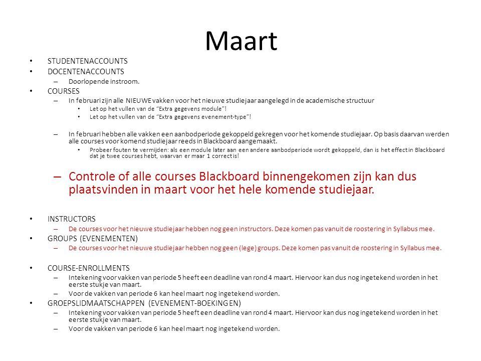 Maart STUDENTENACCOUNTS DOCENTENACCOUNTS – Doorlopende instroom.