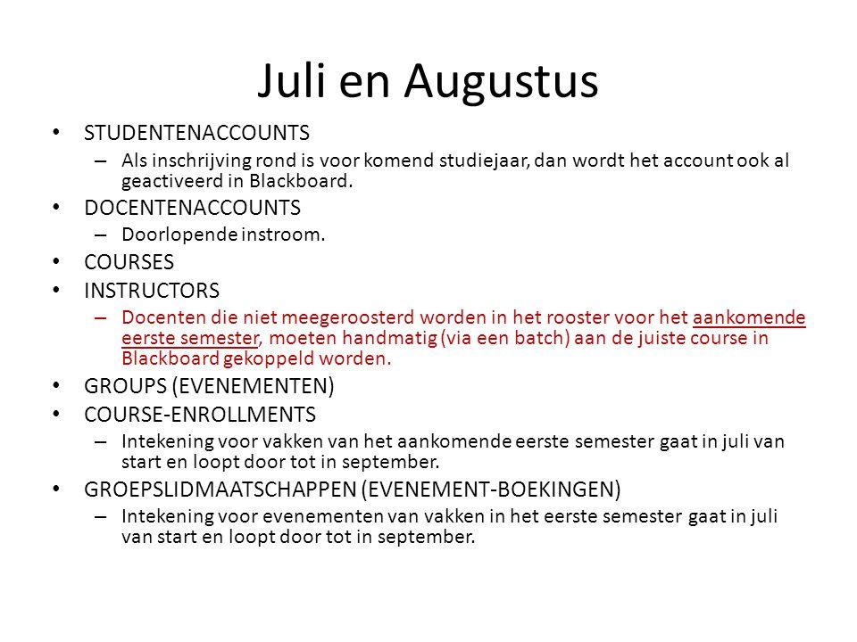 Juli en Augustus STUDENTENACCOUNTS – Als inschrijving rond is voor komend studiejaar, dan wordt het account ook al geactiveerd in Blackboard.