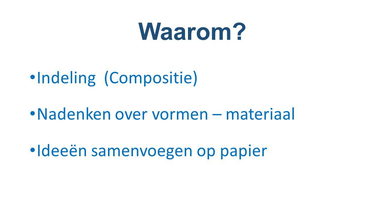 Waarom? Indeling (Compositie) Nadenken over vormen – materiaal Ideeën samenvoegen op papier