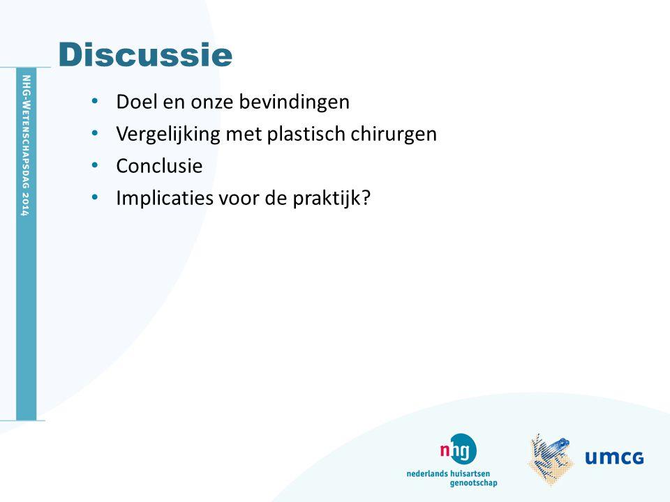 Discussie Doel en onze bevindingen Vergelijking met plastisch chirurgen Conclusie Implicaties voor de praktijk?