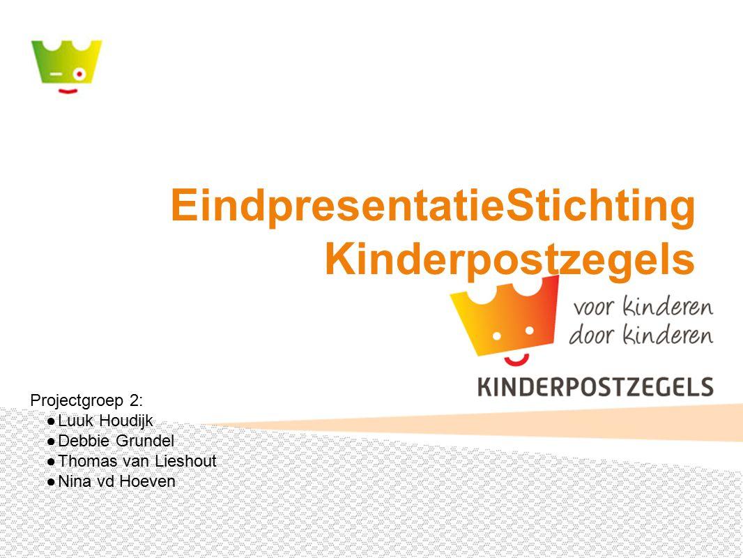 EindpresentatieStichting Kinderpostzegels Projectgroep 2: ●Luuk Houdijk ●Debbie Grundel ●Thomas van Lieshout ●Nina vd Hoeven