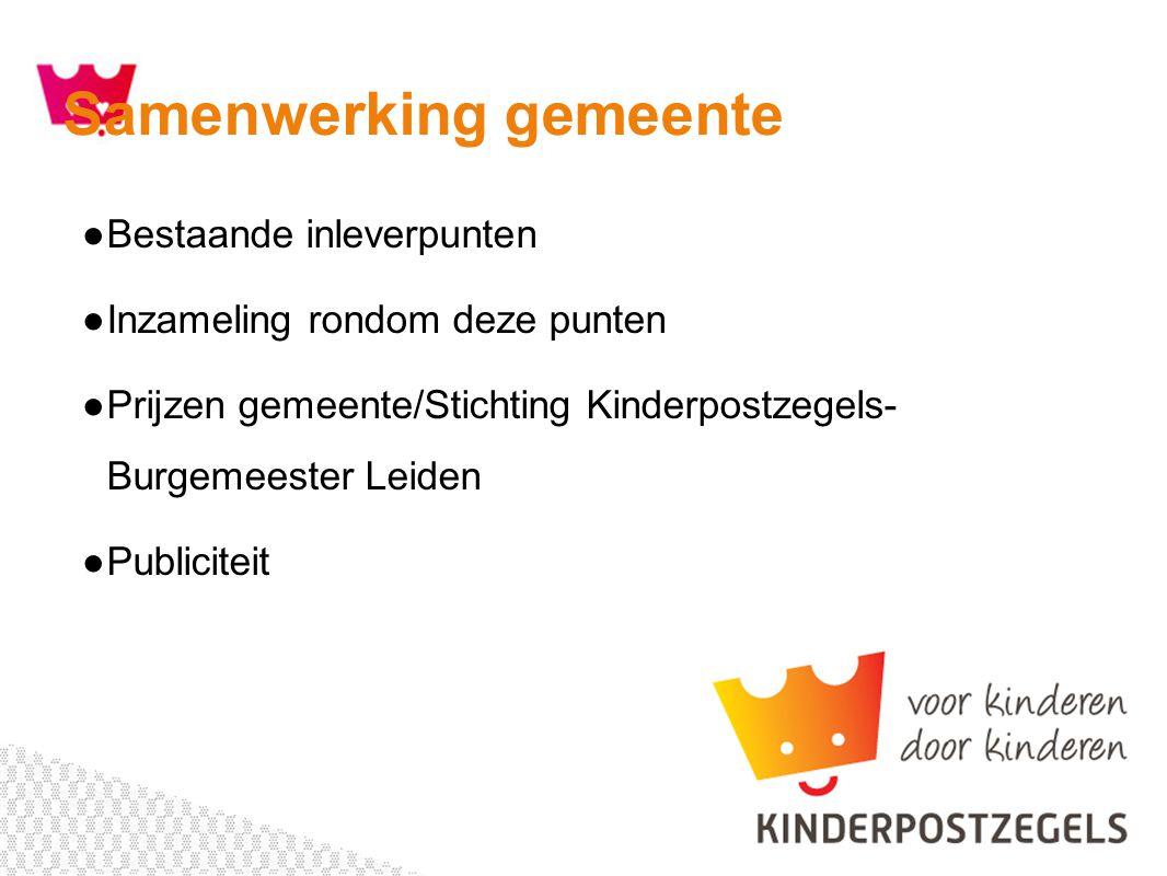 ●Bestaande inleverpunten ●Inzameling rondom deze punten ●Prijzen gemeente/Stichting Kinderpostzegels- Burgemeester Leiden ●Publiciteit Samenwerking gemeente