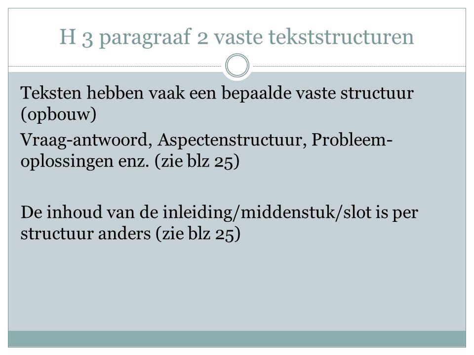 H 3 paragraaf 2 vaste tekststructuren Teksten hebben vaak een bepaalde vaste structuur (opbouw) Vraag-antwoord, Aspectenstructuur, Probleem- oplossingen enz.