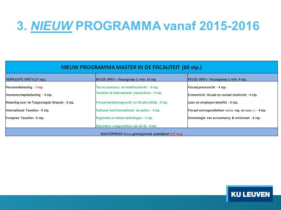 3. NIEUW PROGRAMMA vanaf 2015-2016 NIEUW PROGRAMMA MASTER IN DE FISCALITEIT (60 stp.) VERPLICHTE OPO'S (27 stp.)KEUZE-OPO's - Keuzegroep 1: min. 14 st
