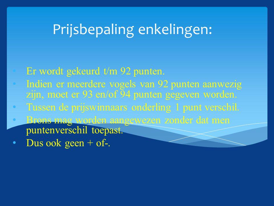 Prijsbepaling enkelingen: Er wordt gekeurd t/m 92 punten. Indien er meerdere vogels van 92 punten aanwezig zijn, moet er 93 en/of 94 punten gegeven wo