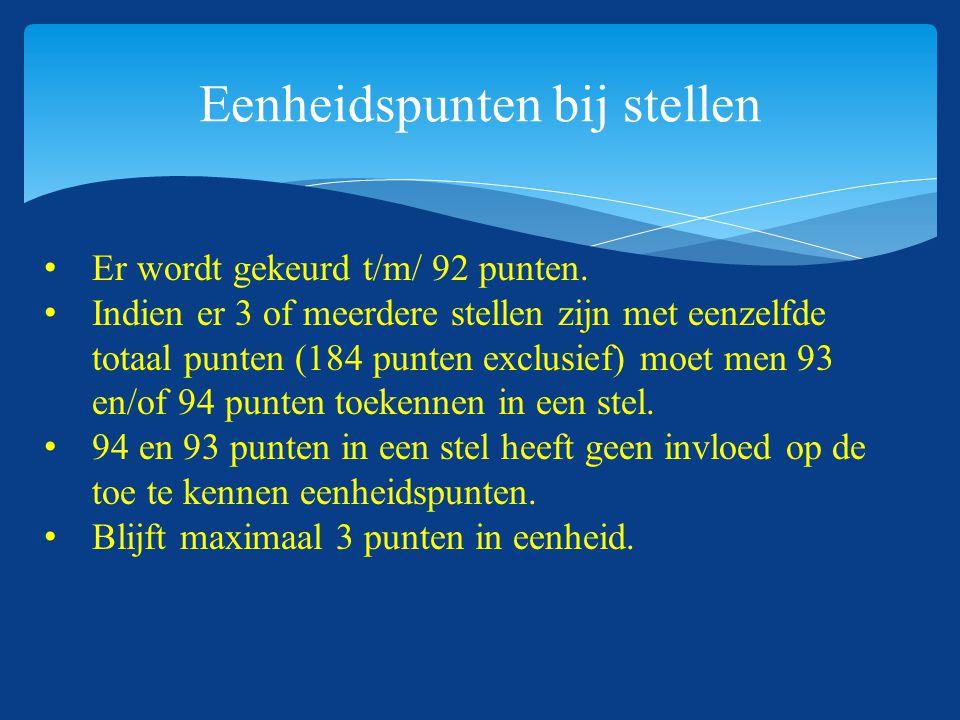 Eenheidspunten bij stellen Er wordt gekeurd t/m/ 92 punten. Indien er 3 of meerdere stellen zijn met eenzelfde totaal punten (184 punten exclusief) mo