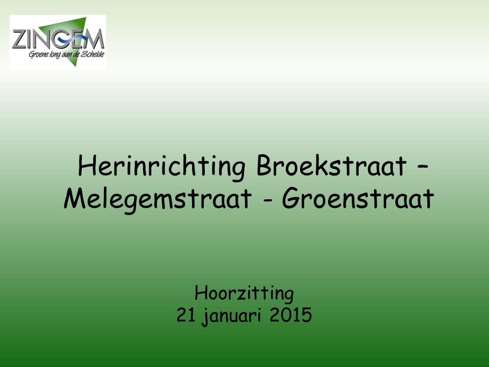 Herinrichting Broekstraat – Melegemstraat - Groenstraat Hoorzitting 21 januari 2015