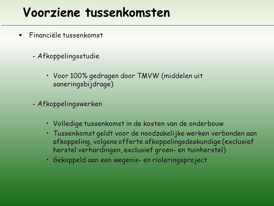 Voorziene tussenkomsten  Financiële tussenkomst - Afkoppelingsstudie Voor 100% gedragen door TMVW (middelen uit saneringsbijdrage) - Afkoppelingswerk