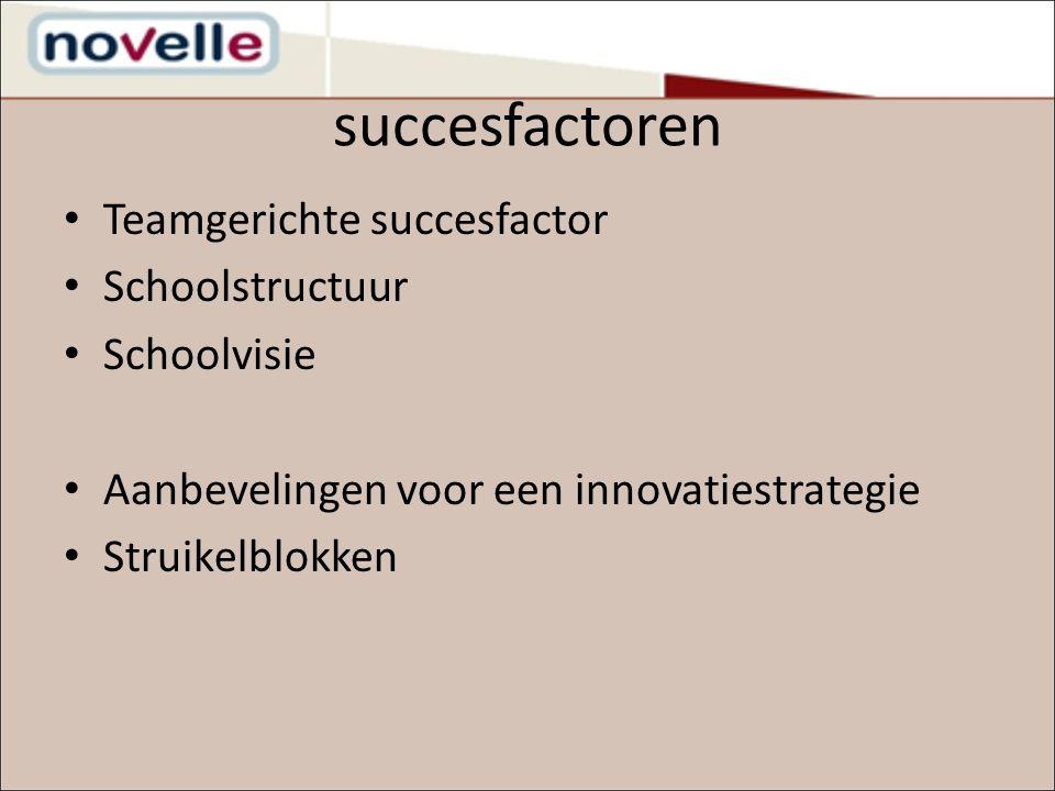 succesfactoren Teamgerichte succesfactor Schoolstructuur Schoolvisie Aanbevelingen voor een innovatiestrategie Struikelblokken