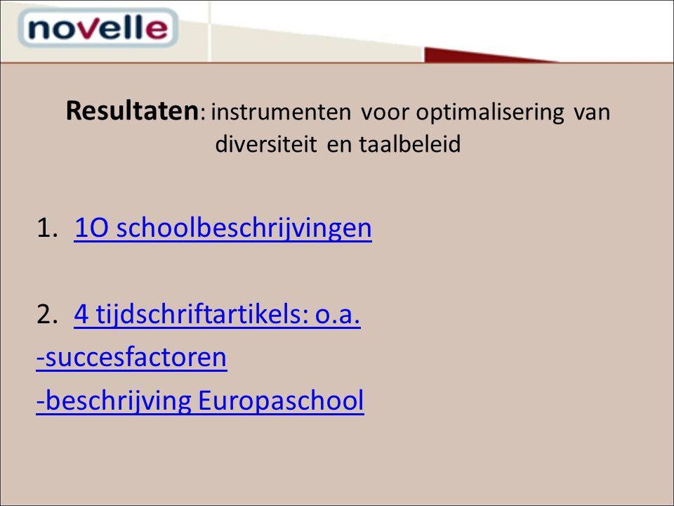 Resultaten : instrumenten voor optimalisering van diversiteit en taalbeleid 1.1O schoolbeschrijvingen1O schoolbeschrijvingen 2.4 tijdschriftartikels: o.a.4 tijdschriftartikels: o.a.