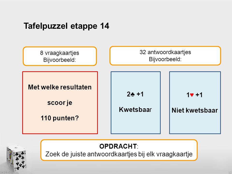 1e14 v3.0 12 Tafelpuzzel etappe 14 OPDRACHT: Zoek de juiste antwoordkaartjes bij elk vraagkaartje 8 vraagkaartjes Bijvoorbeeld: 32 antwoordkaartjes Bi