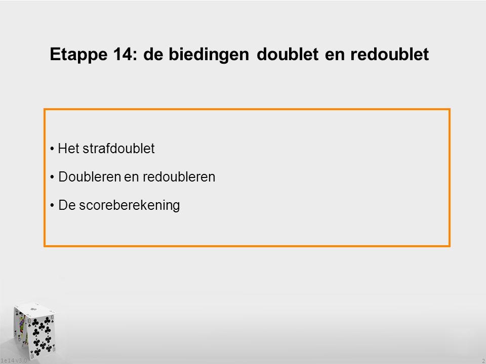 1e14 v3.0 2 Het strafdoublet Doubleren en redoubleren De scoreberekening Etappe 14: de biedingen doublet en redoublet