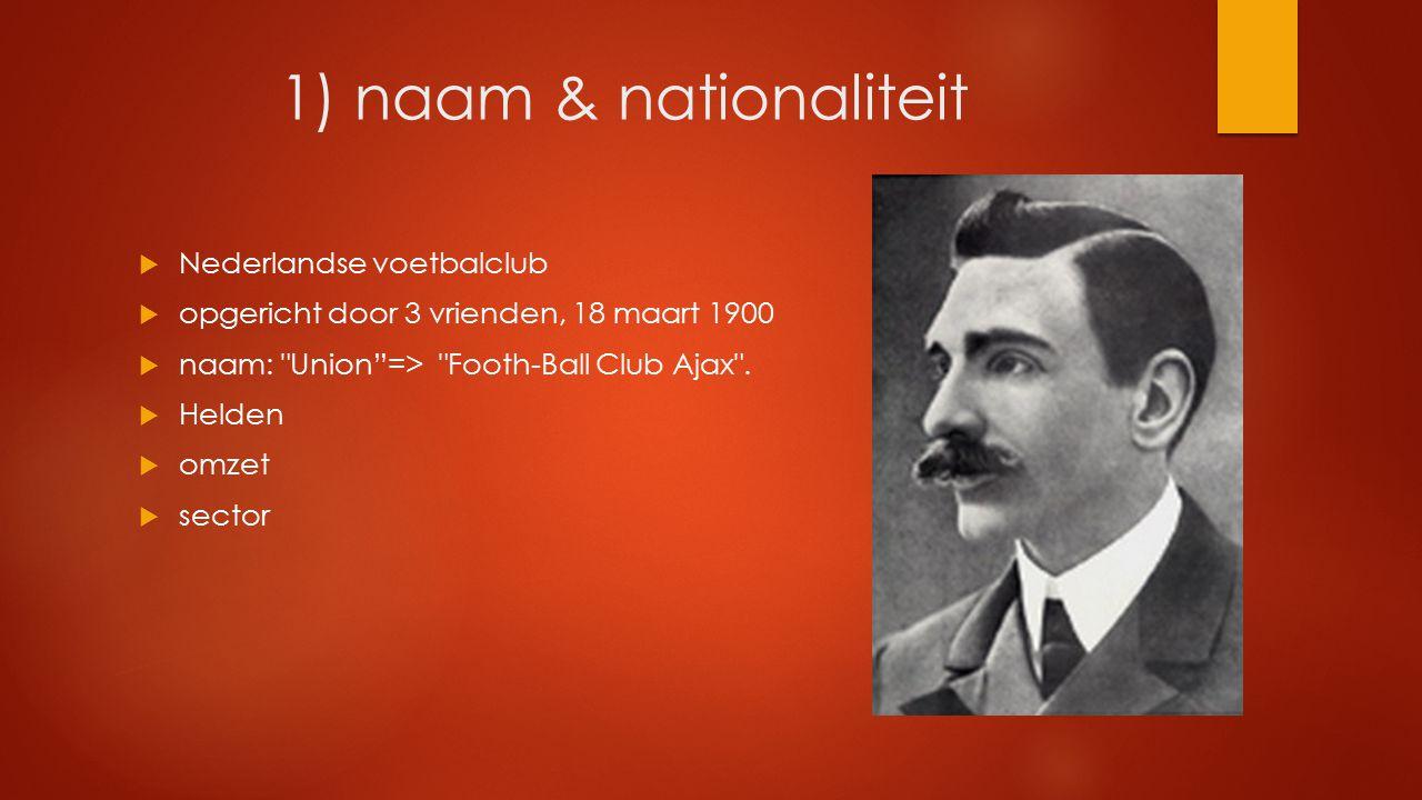 1) naam & nationaliteit  Nederlandse voetbalclub  opgericht door 3 vrienden, 18 maart 1900  naam: