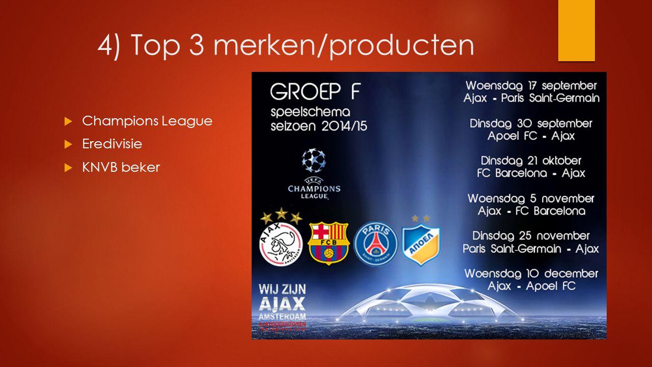 4) Top 3 merken/producten  Champions League  Eredivisie  KNVB beker