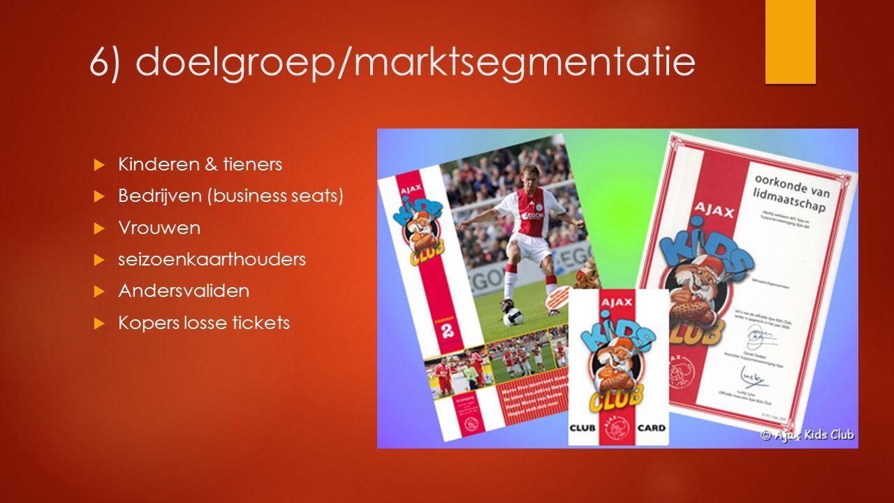 6) doelgroep/marktsegmentatie  Kinderen & tieners  Bedrijven (business seats)  Vrouwen  seizoenkaarthouders  Andersvaliden  Kopers losse tickets