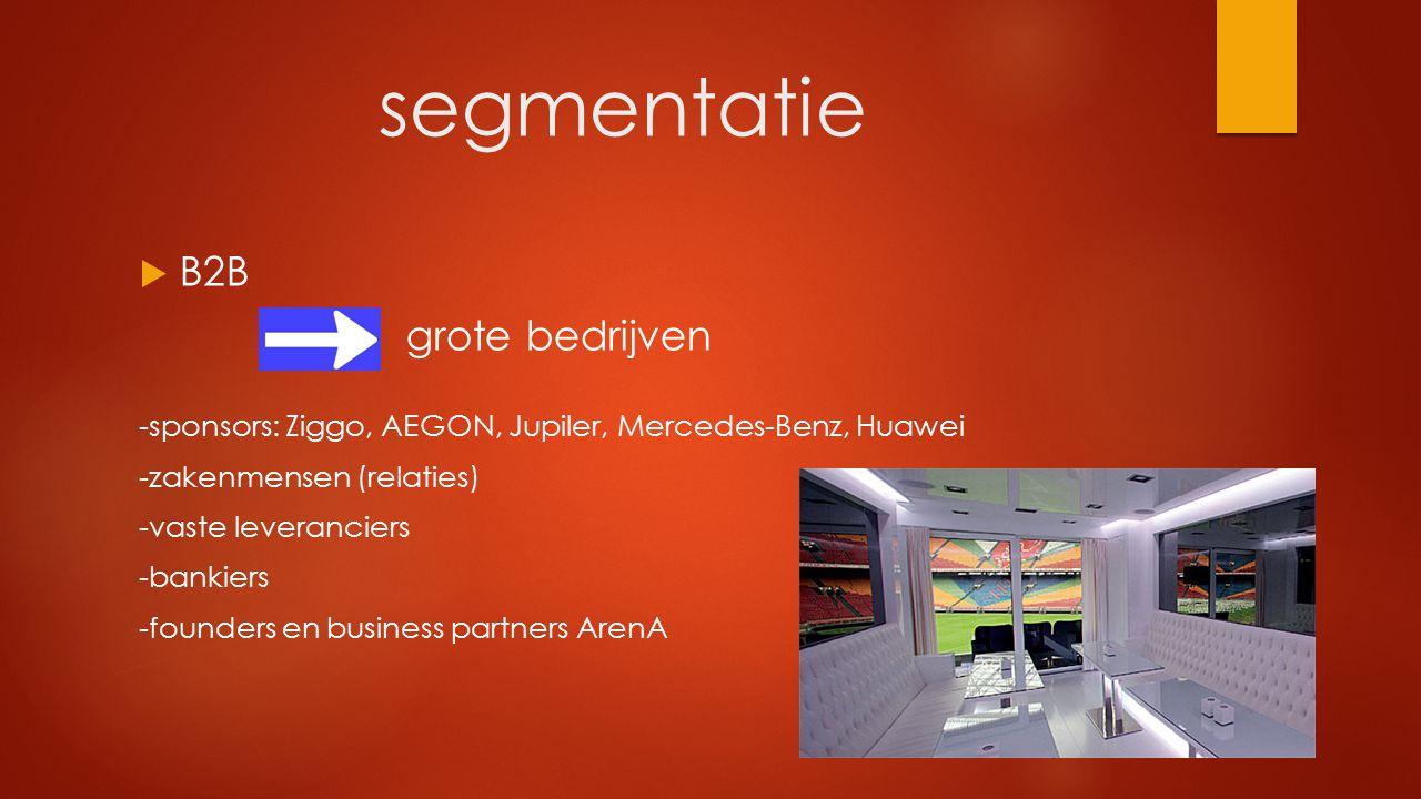 segmentatie  B2B grote bedrijven -sponsors: Ziggo, AEGON, Jupiler, Mercedes-Benz, Huawei -zakenmensen (relaties) -vaste leveranciers -bankiers -found