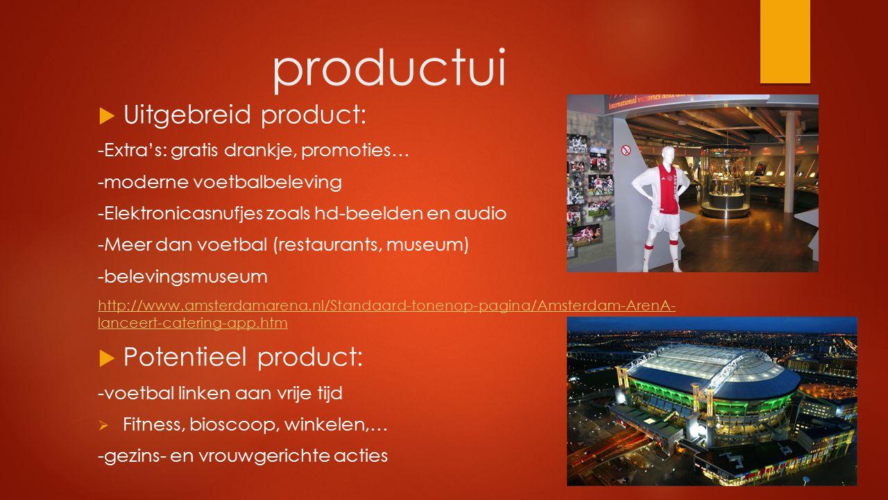 productui  Uitgebreid product: -Extra's: gratis drankje, promoties… -moderne voetbalbeleving -Elektronicasnufjes zoals hd-beelden en audio -Meer dan