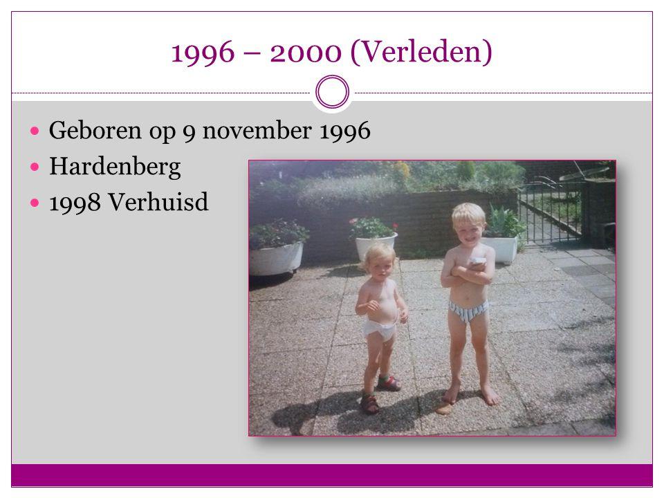 1996 – 2000 (Verleden) Geboren op 9 november 1996 Hardenberg 1998 Verhuisd