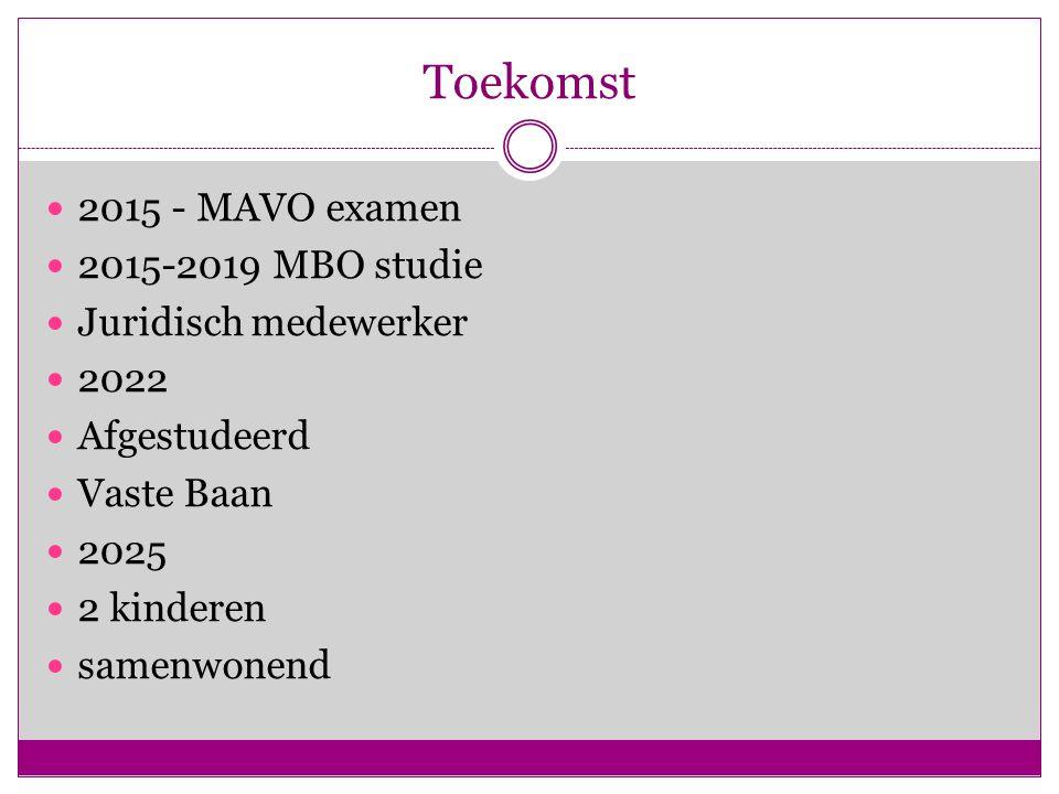 Toekomst 2015 - MAVO examen 2015-2019 MBO studie Juridisch medewerker 2022 Afgestudeerd Vaste Baan 2025 2 kinderen samenwonend